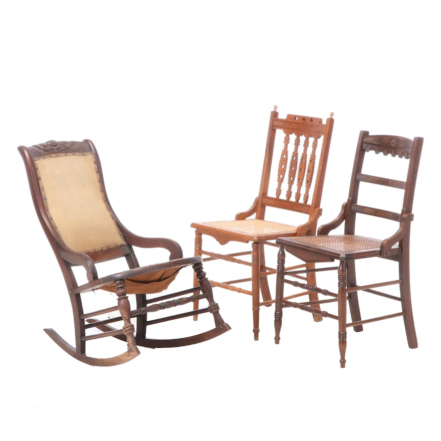 Two Victorian Side Chairs Plus Rocker, Mid to Late 19th Century