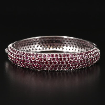 Sterling Silver Rhodolite Garnet Hinged Bangle Bracelet