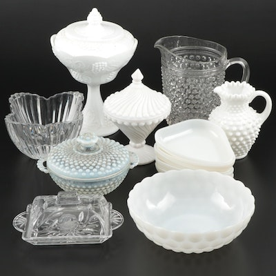 Clear and Milk Glass Compotes, Pitchers, and Table Accessories