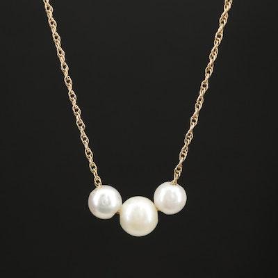 14K Silver-White Pearl Add a Pearl Necklace