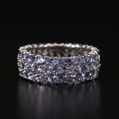 Sterling Silver Tanzanite Triple-Row Eternity Band