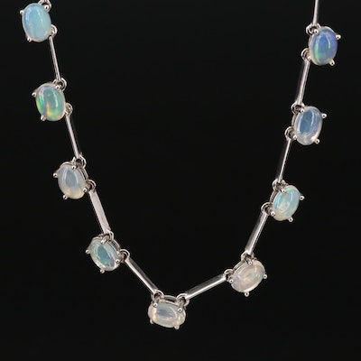 Sterling Silver Opal Link Necklace