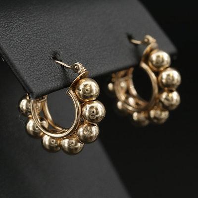 14K Bead Hoop Earrings