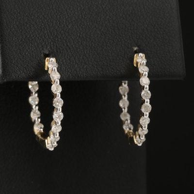 14K 1.01 CTW Diamond Inside Out Hoop Earrings