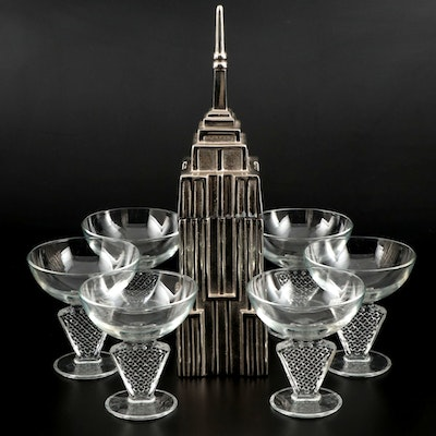 Metal Empire State Building Shaker and Cocktail Glasses