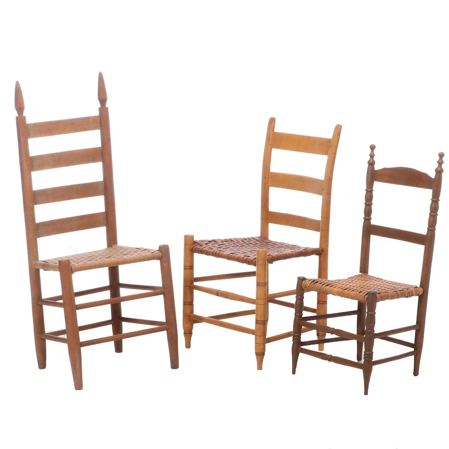 Three American Primitive Ladderback Side Chairs