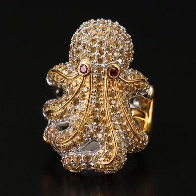 Sterling Garnet and Yellow Sapphire Octopus Ring