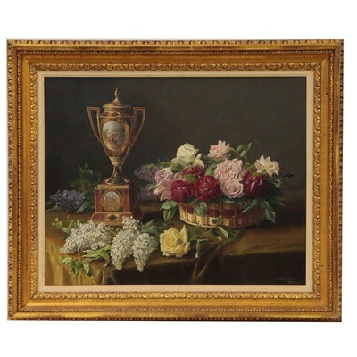 Dora Green Floral Still Life Oil Painting, Early 20th Century