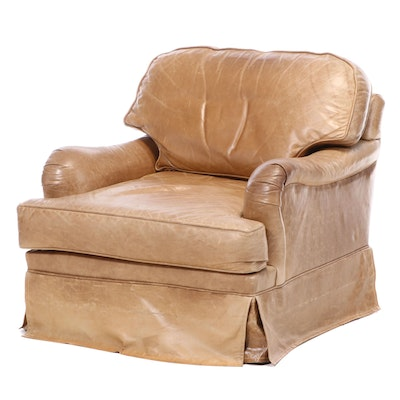 Century Furniture Leather Swivel Lounge Chair, Late 20th Century