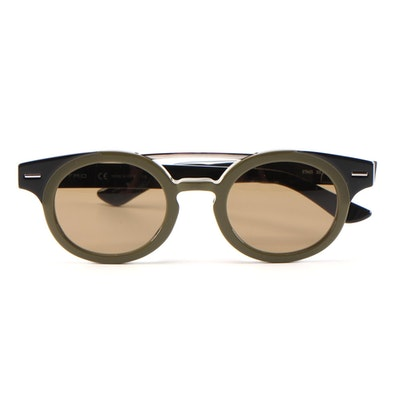 ETRO ET6428 Olive Green and Black Horn-Rimmed Sunglasses with Case and Box