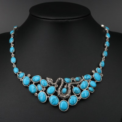 Sterling Turquoise and Marcasite Snake Bib Necklace