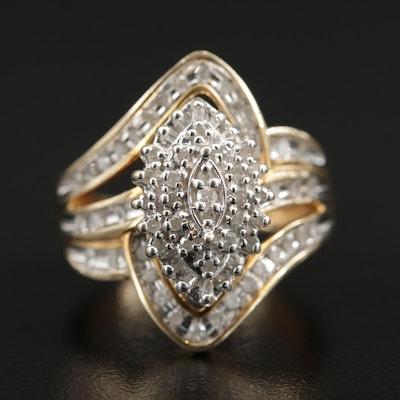 10K Diamond Split Band Cluster Ring