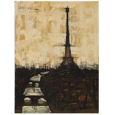 Van Gaard Oil Painting of Eiffel Tower in Paris, Mid 20th Century