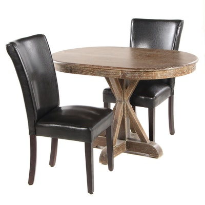 Whitewashed Pine Dining Table with Two Chairs