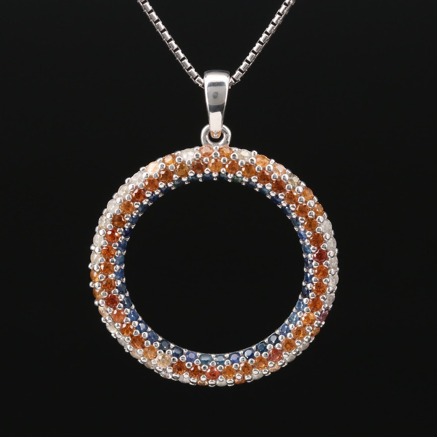 Sterling Citrine and White Zircon Circle Pendant on Box Link Style Chain