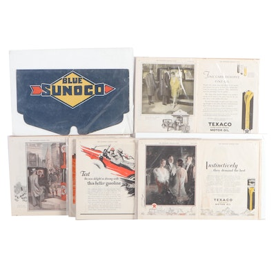 Automobile Related Magazine Ads and a Blue Sunoco Radiator Shield