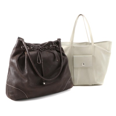 Lambertson Truex Pebble Grained Leather Tote and Drawstring Shoulder Bag