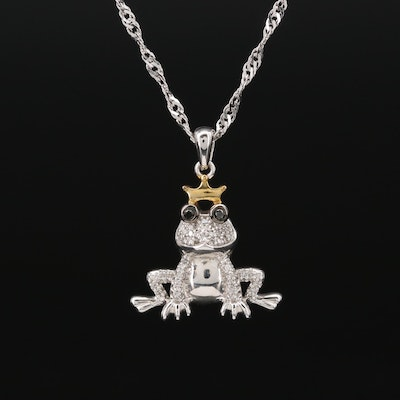 Sterling Black Diamond and Diamond Frog Prince Pendant Necklace