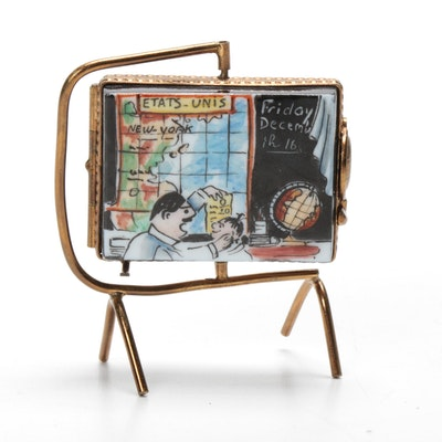 Rochard Hand-Painted Porcelain Chalkboard Limoges Box