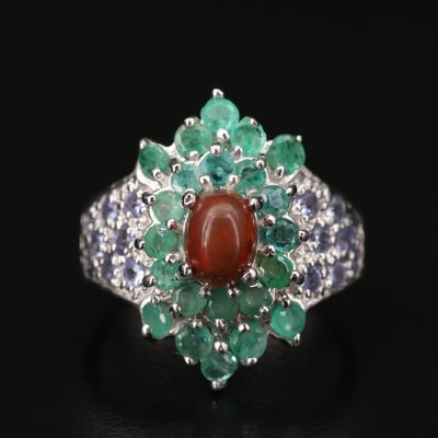 Sterling Silver Opal, Emerald, and Tanzanite Ring