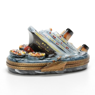 Rochard Hand-Painted Porcelain Sinking Titanic Limoges Box