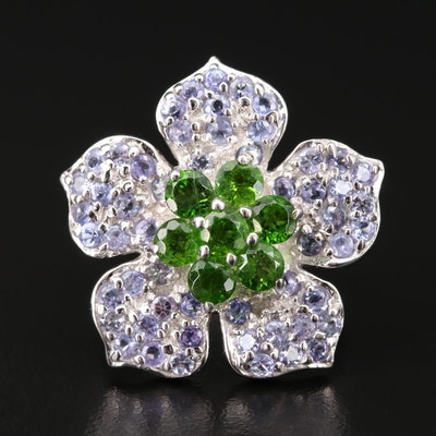 Sterling Silver Diopside and Tanzanite Flower Ring
