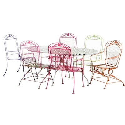 Multi-Color Metal Patio Dining Set with Floral Motif