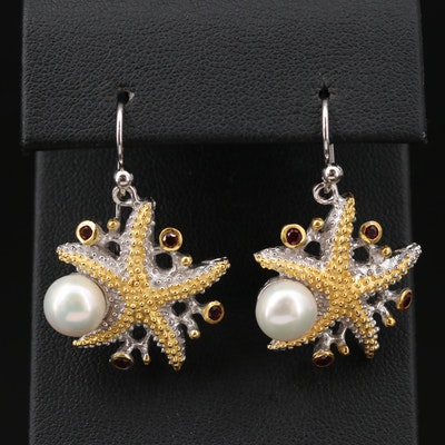 Sterling Silver Cultured Pearl and Garnet Starfish Earrings
