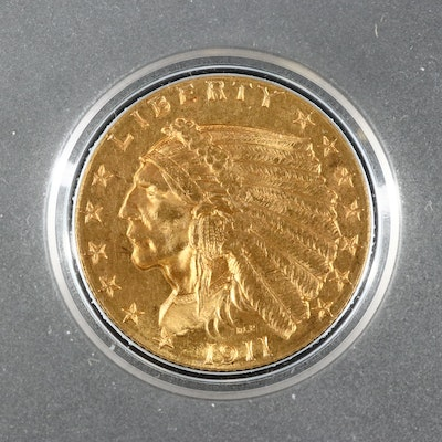 1911 Indian Head $2.50 Gold Quarter Eagle Coin