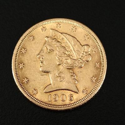 1906 Liberty Head $5 Gold Half Eagle Coin