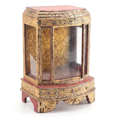 East Asian Embellished Giltwood Buddhist Reliquary