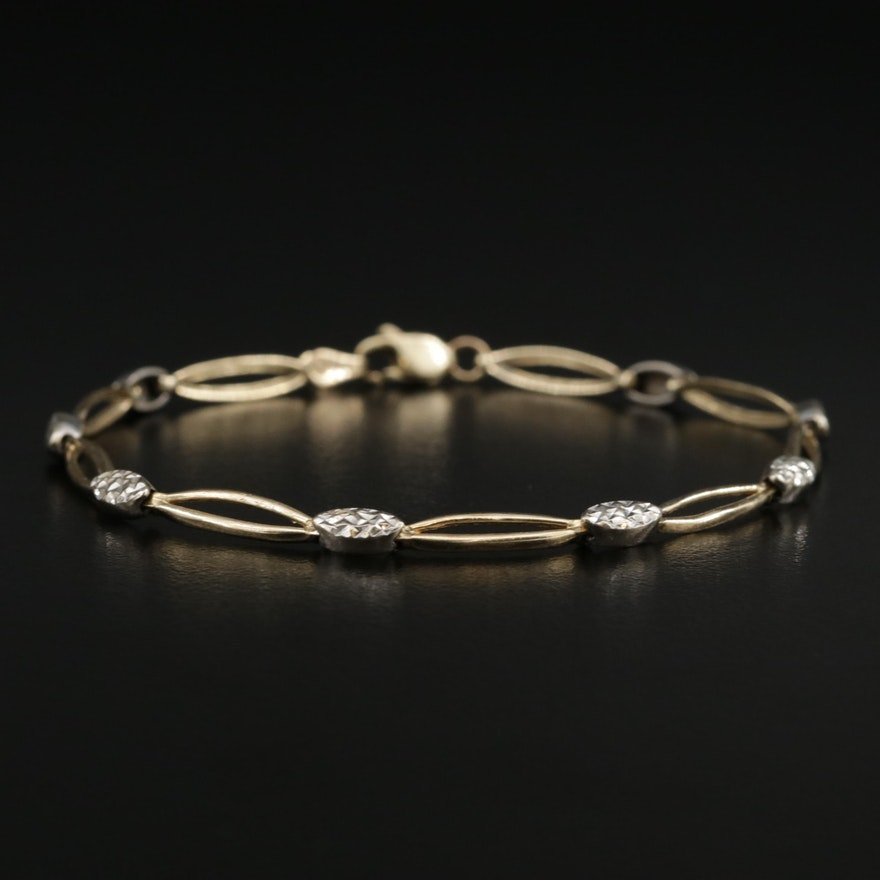 10K White and Yellow Gold, Diamond Cut Pattern Link Bracelet