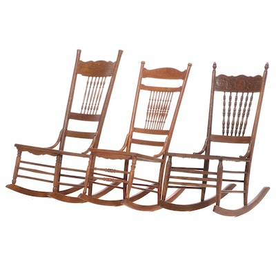 Three Late Victorian Rocking Chairs, Including Heywood Brothers & Wakefield Co.