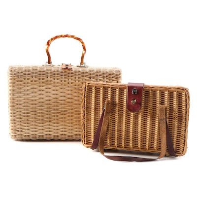 Etienne Aigner and Other Woven Wicker Handbags, Vintage