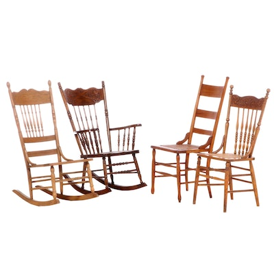Two American Spindle and Press-Back Rocking Chairs Plus Two Side Chairs