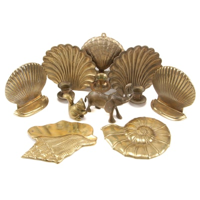Shell Form Brass Wall Scones and Décor with Brass Animal Figurines