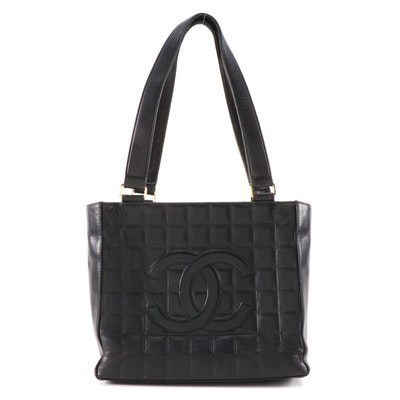 Chanel CC Tote Bag in Black Square Quilted Lambskin Leather