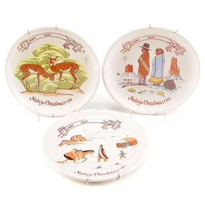 Kay Mallek Annual Navajo Christmas Decorative Plates, 1970s