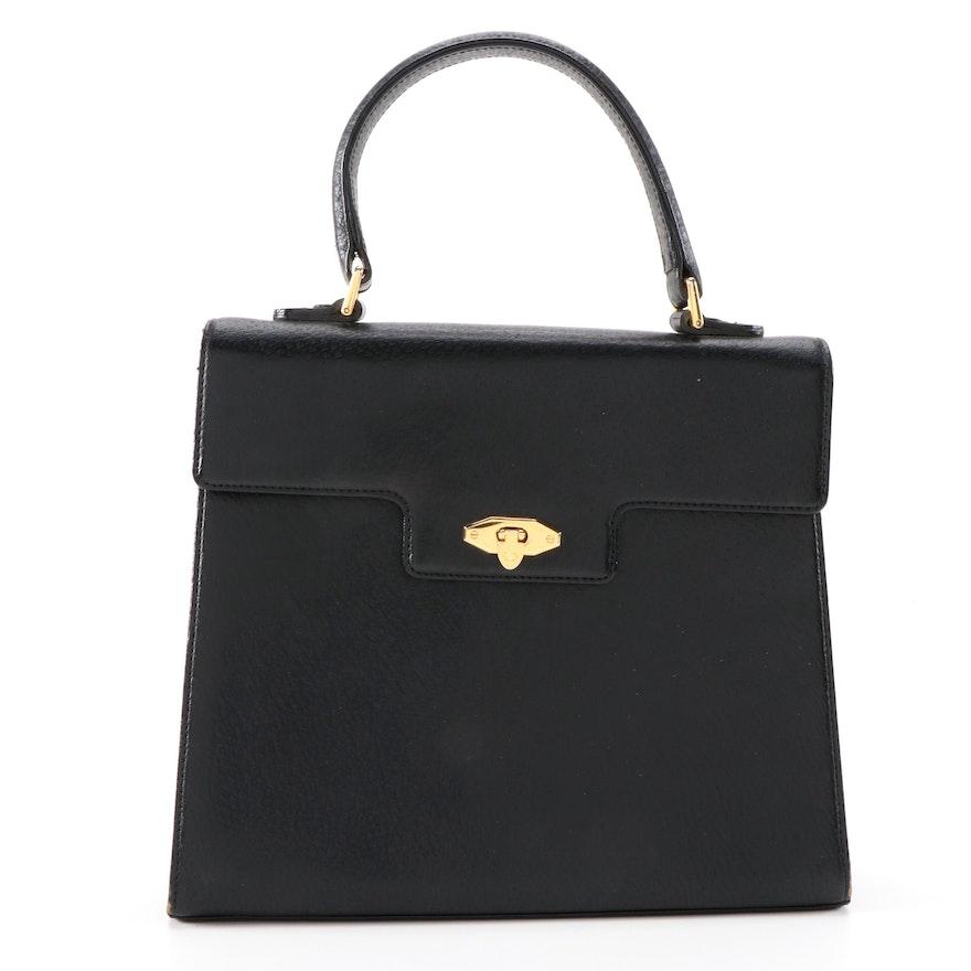Valentino Garavani Black Leather Top Handle Bag, Vintage