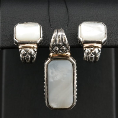 Sterling Mother of Pearl Pendant and Earring Set