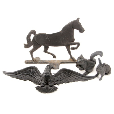 Cast Iron Horse Doorstop with Other Cast Iron and Metal Animal Form Décor