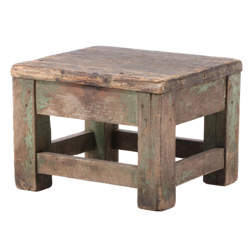 Weathered Painted Pine Stool, Early 20th Century