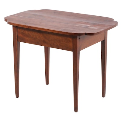 American Primitive Stained Wood with Shaped Top Center Table, 19th Century