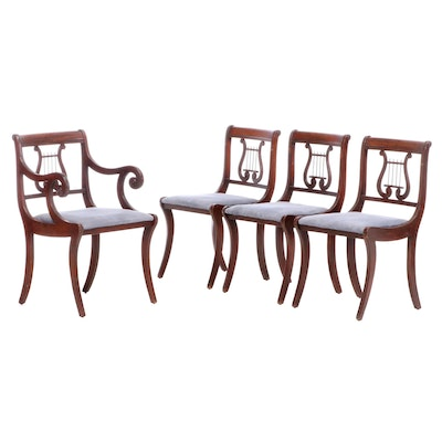 Four American Classical Style Mahogany-Stained Dining Chairs, 20th Century