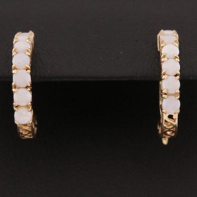 14K Gold Opal Hoop Earrings