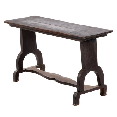 Ebonized Wood Trestle Console Table