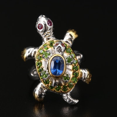 Sterling Silver Turtle Ring with Kyanite, Ruby and Diopside