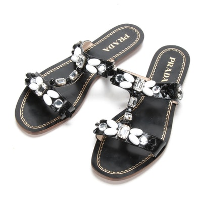 Prada Embellished Black Saffiano Patent Leather Sandals