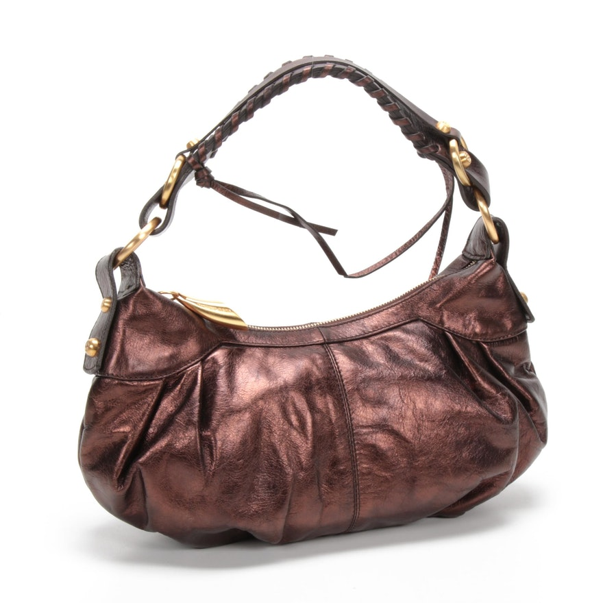Francesco Biasia Bronze Metallic Leather Shoulder Bag