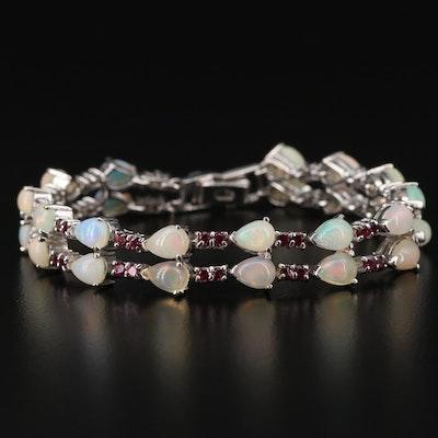 Sterling Silver Opal and Rhodolite Garnet Bracelet